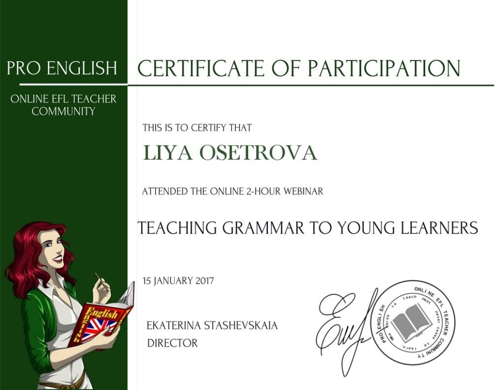 сертификат грамматика