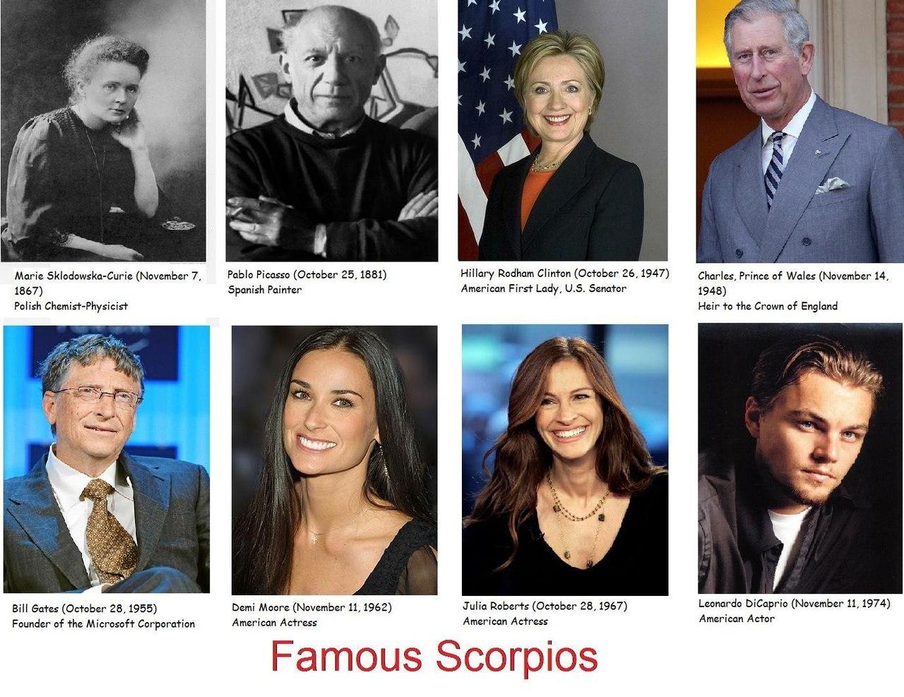 Люди скорпиона знаком известные под