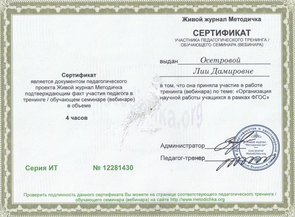 Сертификат Участника Семинара Образец