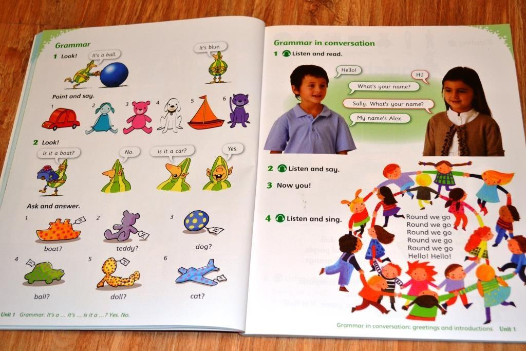 Страница, как вводится грамматика в упражнениях и в речи