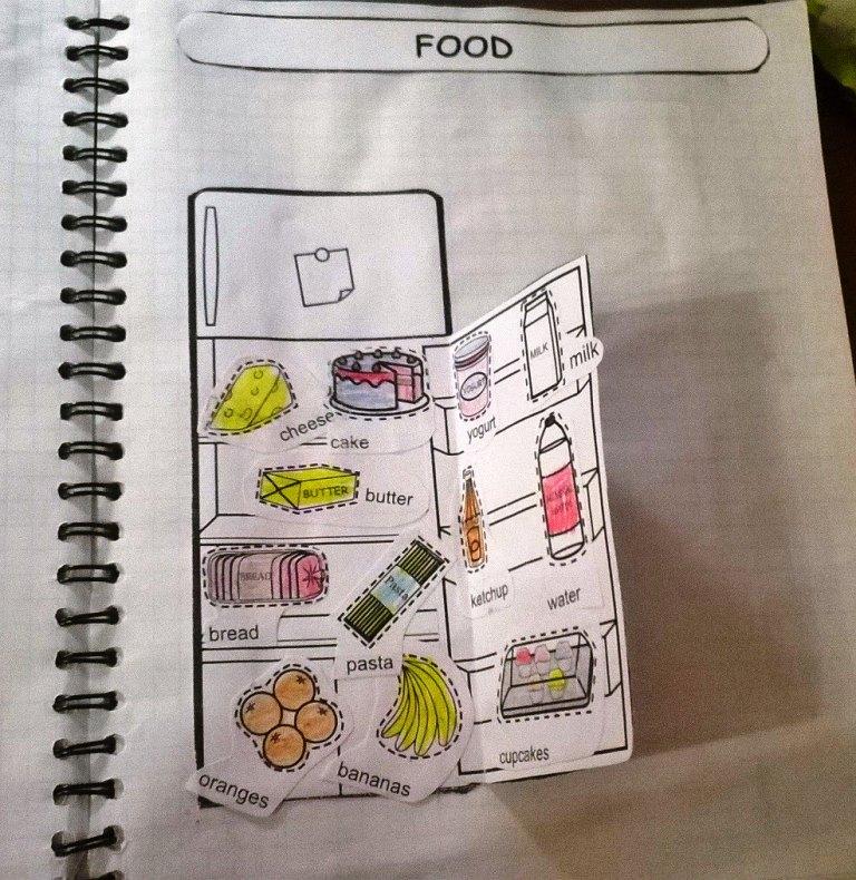 Страница из тетради моей ученицы. Шаблон Холодильник